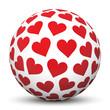Kugel, Herz, Herzchen, Rot, Weiss, Liebe, Design, Vektor, 3D