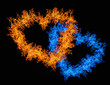 orange and blue heart shape flame isolated on black