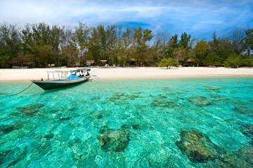 Beautiful sea and coastlines of Gili Meno, Indonesia.