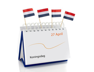 dutch calendar with 27 april kings day