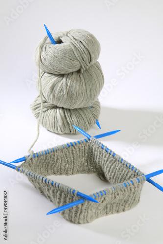 canvas print picture Strickzeug - Nadelspiel - dicke Wolle - Handarbeit