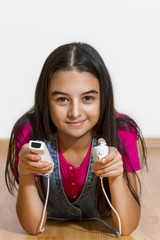 teenage girl playing video games