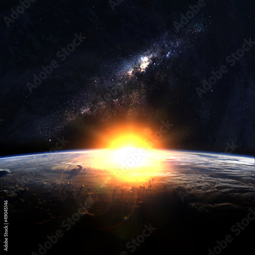 Earth with rising sun