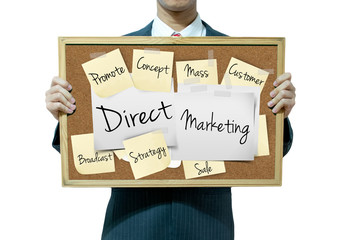 Business man holding board on the background, Direct marketing