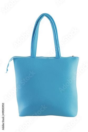 Light blue fabric lady handbag.