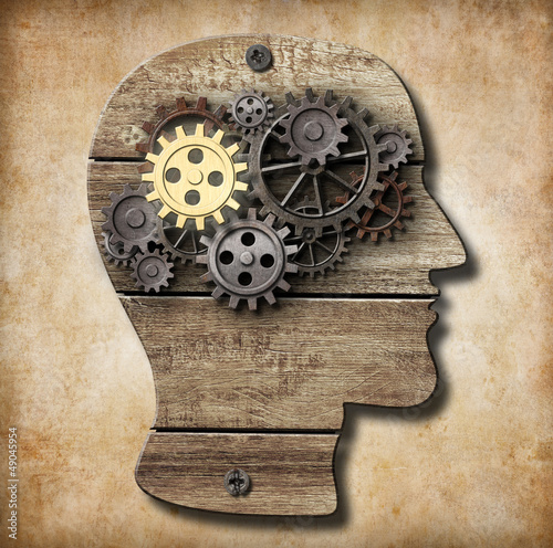 Leinwanddruck Bild Brain model made from rusty metal gears and gold one