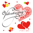 Valentinstag -14. Februar, I love you, Herzen, Blumen, Design