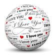I love you, Kugel, Schrift, Liebe, Herz, 3D, Schwarz,  Weiß, Rot