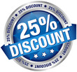 "Button Banner ""25% Discount"" blau/silber"