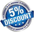 """Button Banner """"5% Discount"""" blau/silber"""