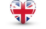 Heart-shaped icon with national flag of the UK