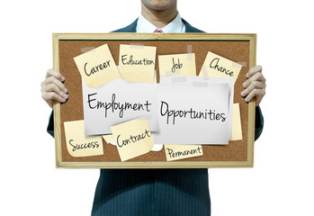 Business man holding board on the background, Employment and job