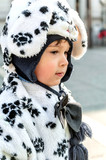 child dressed from Dalmatian for carnival