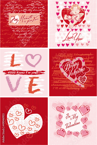 Six different Valentine cards