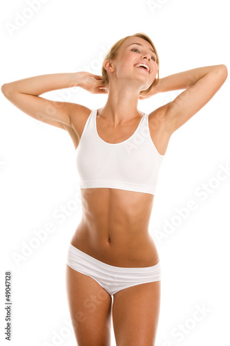 Woman standing on white background