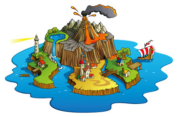 Wonder island with town and villages, vector