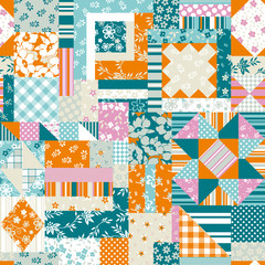 Patchwork quilt seamless vector pattern