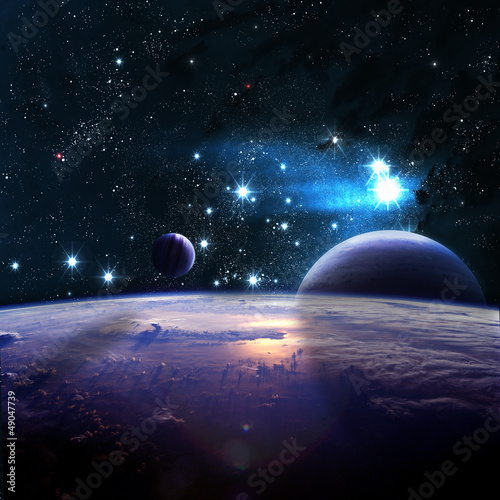 Planets over the nebulae in space