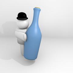 figura umana 3D porta una bottiglia