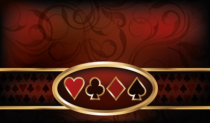 Casino business card with poker elements, vector