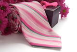 Tie and gift box with flowers