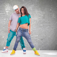 young man and woman  hip-hop dancers