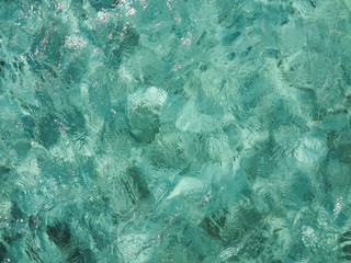 Calm sea with distorted surface