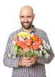Lachender Mann mit Frühlingsstrauß