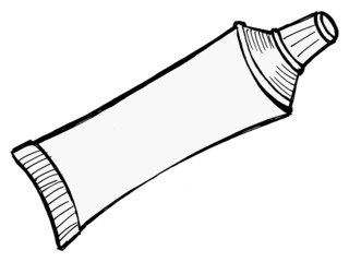 Illustration of tube of toothpaste and other paste