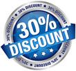 """Button Banner """"30% Discount"""" blau/silber"""