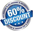 """Button Banner """"60% Discount"""" blau/silber"""