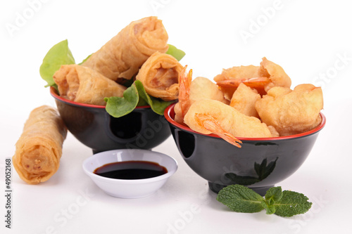 spring roll, shrimp fritter and soy sauce