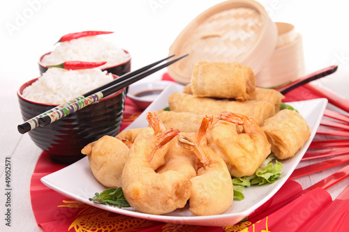 fried spring roll and rice