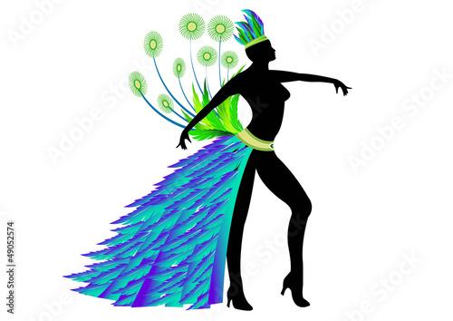 Danseuse Carnaval Rio - costume vert et bleu - Position 1