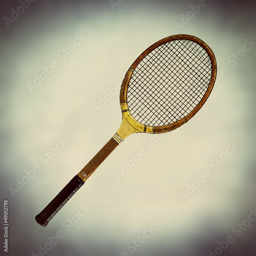 old fashioned wooden tennis racket