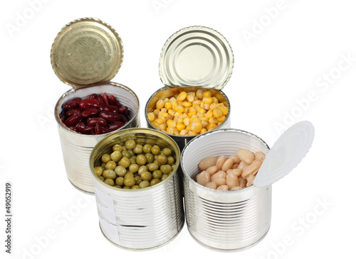 Beans in metal tins