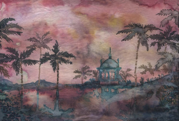 Watercolor Temple