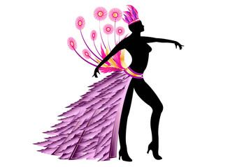 Danseuse Carnaval Rio - costume violet et or - Position 1