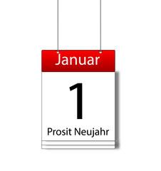 Prosit Neujahr am 1. Januar