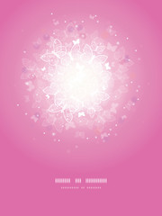 Vector magical pink butterflies sunburst vertical template