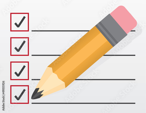 Checklist with large pencil closeup