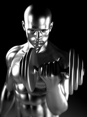 3d rendered illustration of a steel muscle man