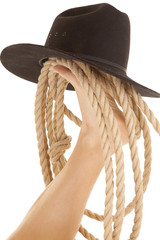 Foot cowboy hat and rope