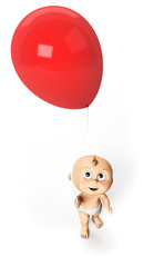 3d rendered illustration of a cute baby