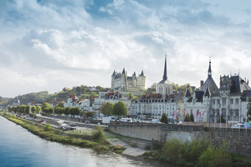 view of town Saumur from Loire Valley, France