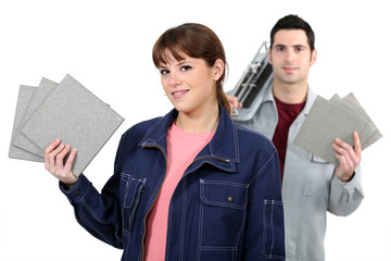 Couple with tile cutter