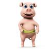3d rendered illustration of a funny pig