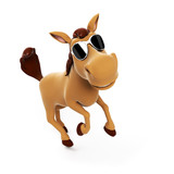 3d rendered illustration of a cute horse