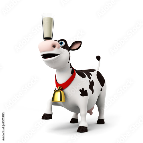 Foto op Canvas Boerderij 3d rendered illustration of a toon cow