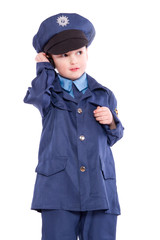 Polizist am Funkgerät